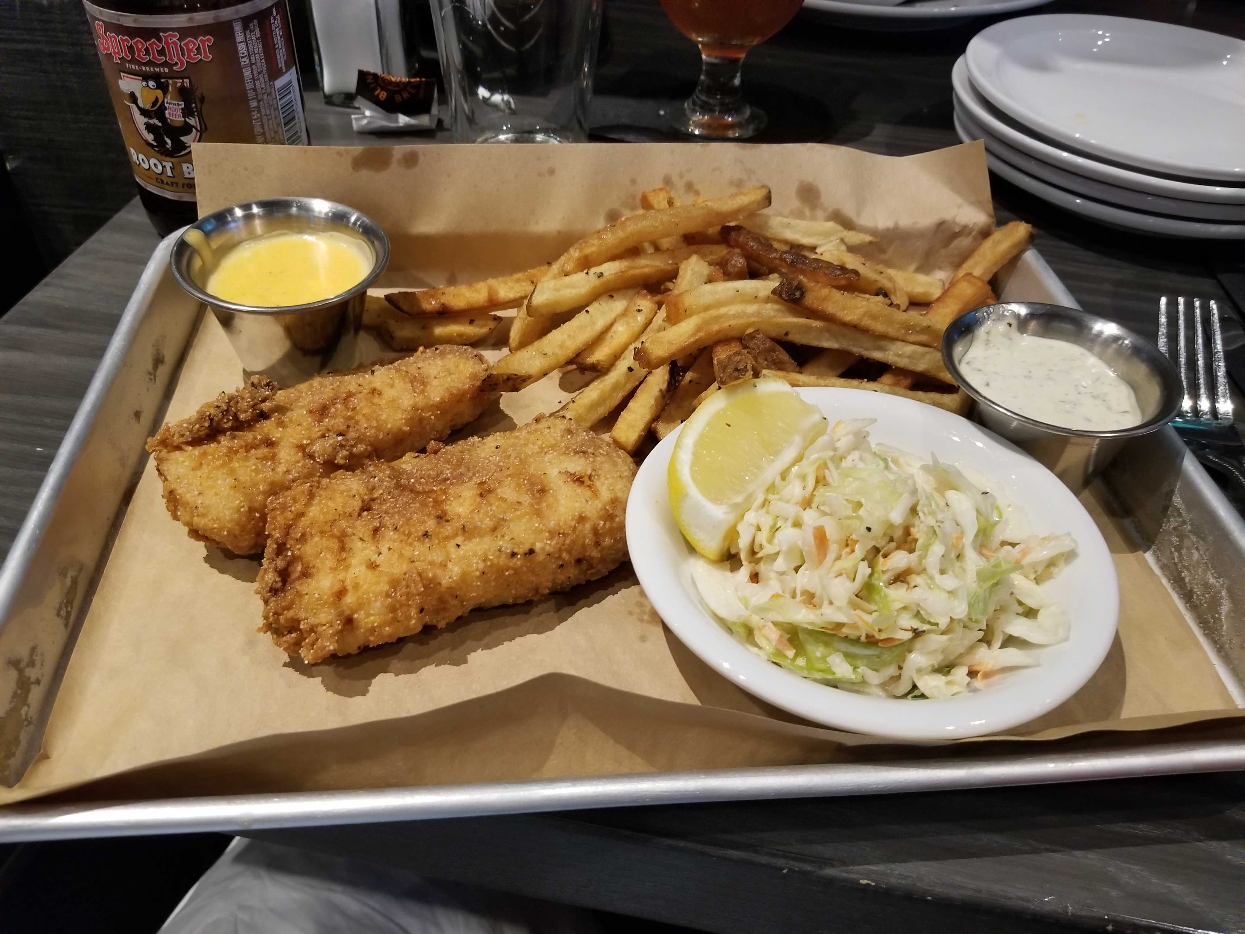 Fish and chips originated in the United Kingdom. Blind Owl Brewery is located on 5014 E 62nd St, Indianapolis, IN 46220.