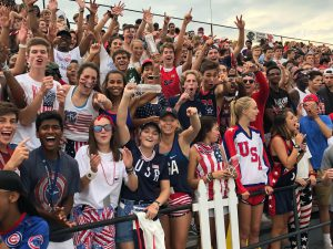 The student section  filled with team spirit. The football team defeated Hamilton Southeastern 31-13.