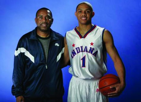 "Eric Gordon poses with his dad Eric Sr. after winning the ""Mr. Basketball"" award. Gordon graduated in 2007, then went on to IU then the NBA."