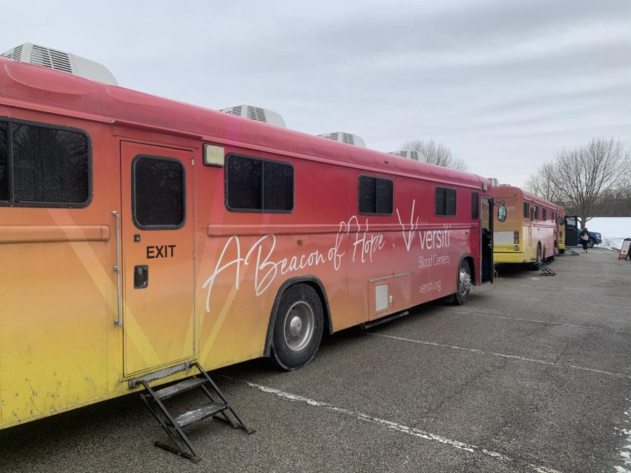 The buses were parked outside of North Central for the senior blood drive. They reached their goal of 50-75 units.