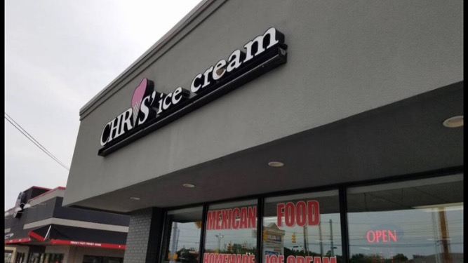 Chris' ice cream is located on 86th street, close to NC. They serve Mexican food and ice cream.