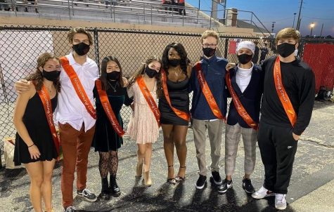 The 2020 Homecoming court waits to be escorted at the football game the night before the dance. The top five Homecoming king and queen nominees voted by students are chosen to represent NC on Homecoming court.