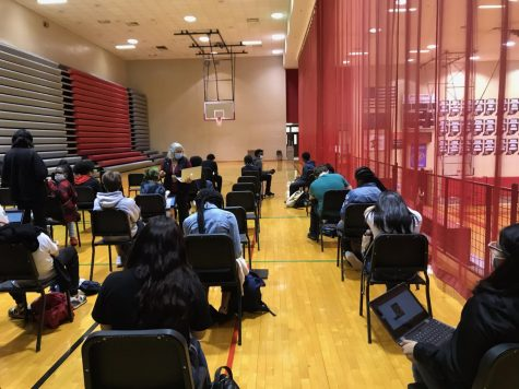 Students sit in one of the new tardy rooms as they are late for class. Students late for class will either report to lower student where they will be directed to the appropriate location.